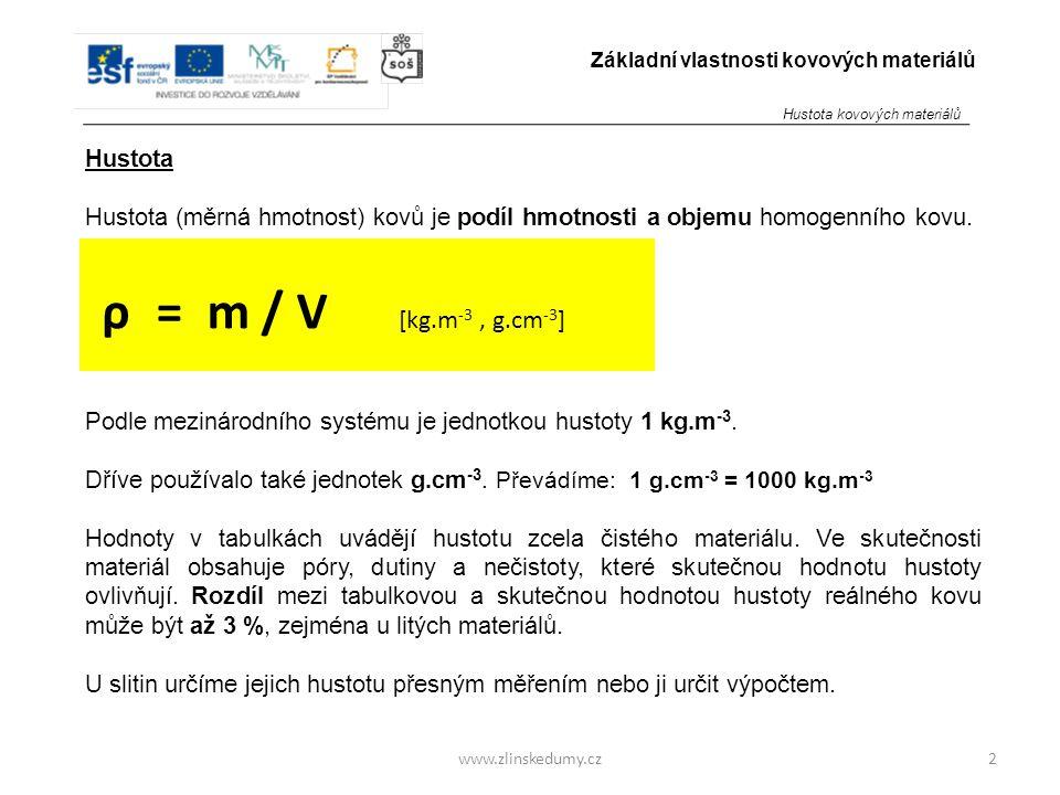 ρ = m / V [kg.m-3 , g.cm-3] Hustota